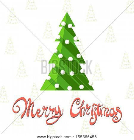 Bright Christmas tree on snowy background with the words Merry Christmas
