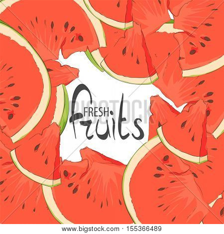 Delicious slices of watermelon on a white background with a place for a signature