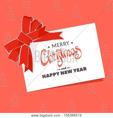 Christmas greeting card with the words Merry Christmas on a red background