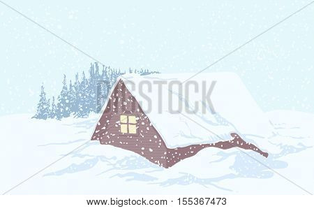 Wooden house in the woods in December