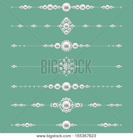 Pearl jewelry dividers. Decoration with elegant gemstone. Vector illustration