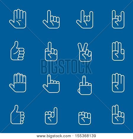 Hands line art icons and gestures thin line signs. Set of human arm. Vector illustration