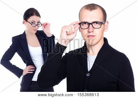 ophthalmology and optometry concept - business man and woman in eyeglasses isolated on white background