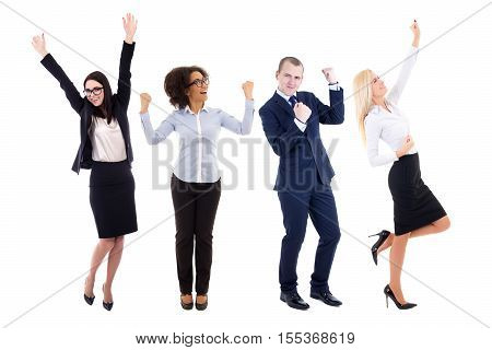 happy young business people celebrating something isolated on white background