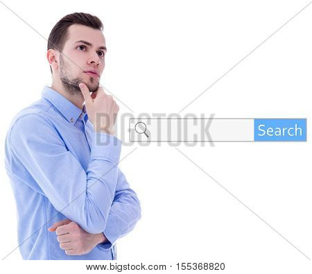 internet search concept - portrait of young man thinking about something isolated on white background