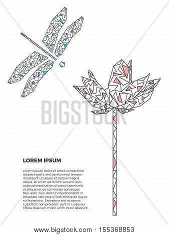 Modern background with dragonfly and lotus flower. Vector illustration isolated on white. Geometric grey and blue dragonfly