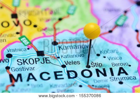 Stip pinned on a map of Macedonia