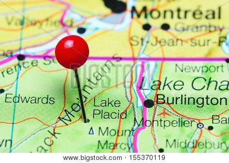 Lake Placid pinned on a map of New York state, USA
