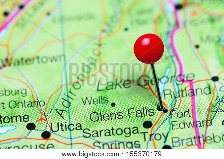 Glens Falls pinned on a map of New York state, USA