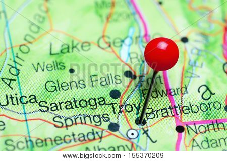 Troy pinned on a map of New York state, USA