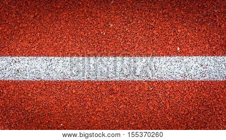 Running Track With White Line Rubber Texture. Top View Rubber