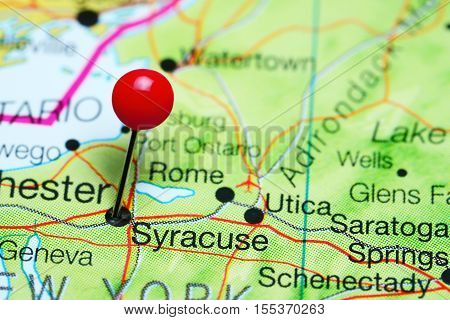Syracuse pinned on a map of New York state, USA