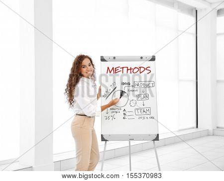 Business trainer near flipchart at conference. Business coaching and development concept.