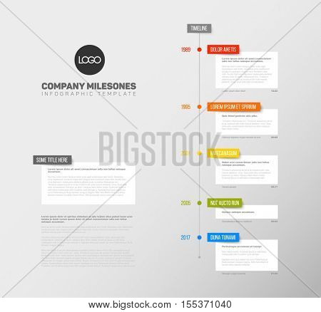 Vector Infographic  timeline report template with the biggest milestones,  years and description