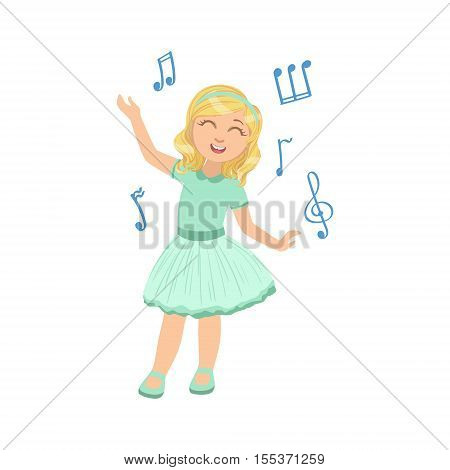 Girl In Blue Dress Dancing. Simple Design Illustration With Kid Performing Musical Number In Cute Fun Cartoon Style Isolated On White Background