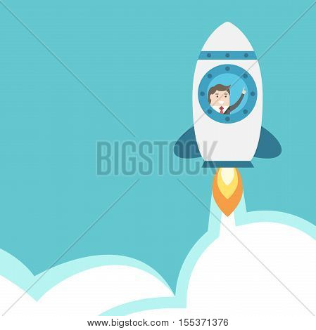 Businessman Flying In Rocket