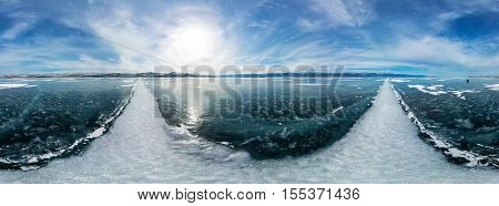 Cylindrical Panorama 360 A Big White Cracks On The Ice Of Lake Baikal