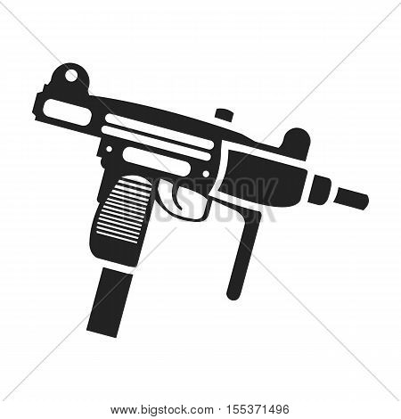 UZI weapon icon in black style isolated on white background. Weapon symbol vector illustration.