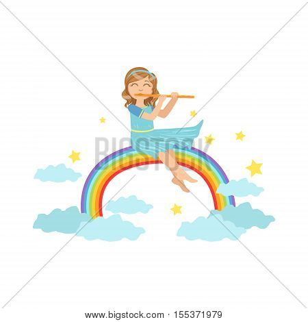 Girl Playing Flute With Rainbow And Clouds Decoration. Simple Design Illustration With Kid Performing Musical Number In Cute Fun Cartoon Style Isolated On White Background