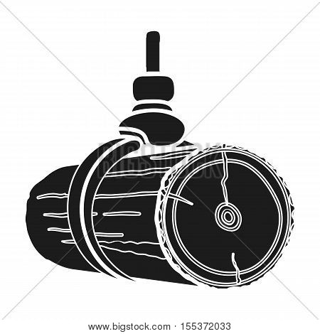 Hydraulic crane icon in black style isolated on white background. Sawmill and timber symbol vector illustration.