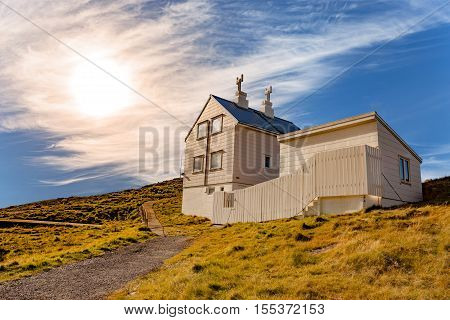 The lighthouse keeper's house on the island Fjoloy in Mosteroy Norway.