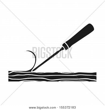 Chisel icon in black style isolated on white background. Sawmill and timber symbol vector illustration.