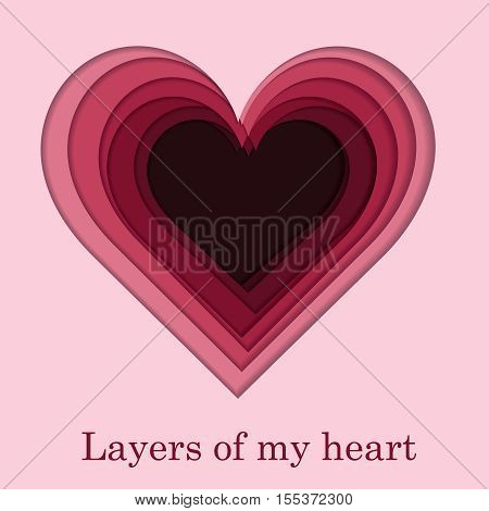 Cutout layered pink, purle and red paper heart shape for Valentines day. Love card. Vector illustration.