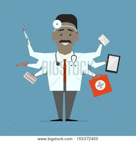 Man multi-doctor. Multitasking. Flat design vector isolated