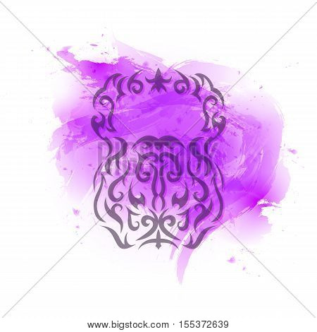 Vector illustration of kettlebell. Kettlebell stylized like tribal art or tattoo. Defocused pictogram on the pink watercolor background.
