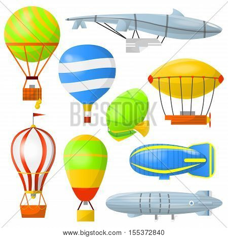 Set of air balloons with basket and airships. Retro air transport for travel and adventures in clouds. Flat icons with aerostats and dirigibles. Vector illustration isolated on white background.