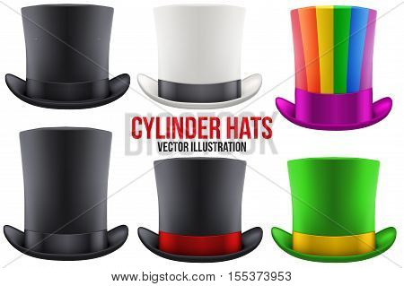 Set of gentleman hat cylinder with ribbon. Luxury and men symbol. Vector Illustration Isolated on white background.