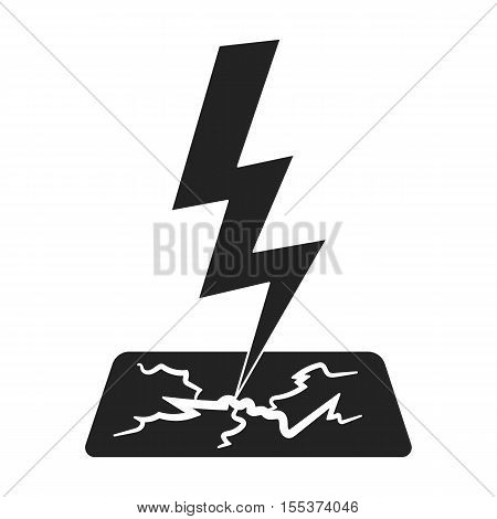 Lightning bolt icon in black style isolated on white background. Weather symbol vector illustration.