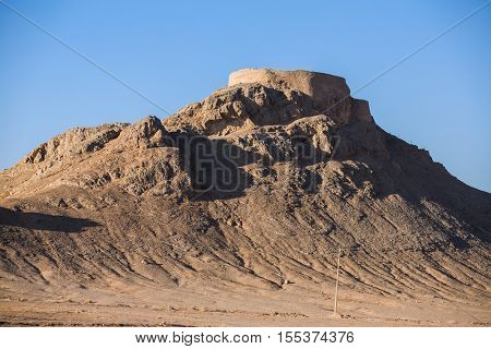 View to the Zoroastrian Tower of Silence in Yazd, Iran