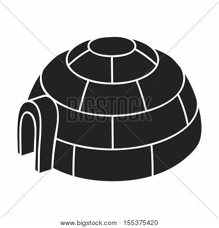 Igloo icon in black style isolated on white background. Ski resort symbol vector illustration.