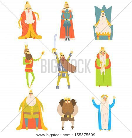 Fairy-Tale Kings Set Of Cartoon Fun Illustrations. Monarchs With Long Beards Childish Portraits Isolated On White Background.