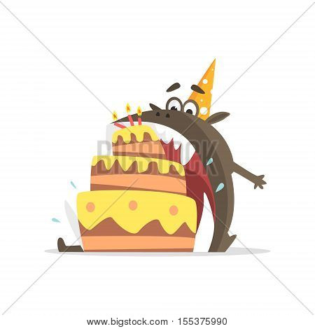 Black Monster Eating Party Cake In One Gulp Funky Creature Colorful Character With Party Attributes On White Background.