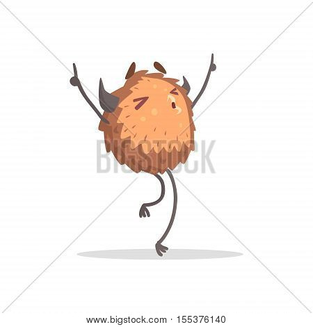 Round Furry Brown Monster Dancing At The Party Funky Creature Colorful Character With Party Attributes On White Background.