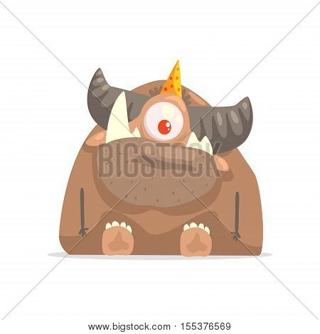 One-eyed Horny Brown Monster In Party Hat. Funky Creature Colorful Character With Party Attributes On White Background.
