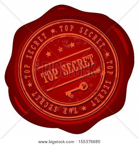 Wax seal with small stars and the word Top Secret, vector illustration