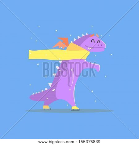 Violet Dragon Monster In Yellow Scarf Ice Skating. Funky Creature Colorful Character With Party Attributes On White Background.