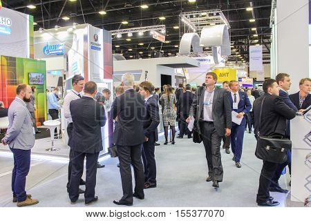 St. Petersburg, Russia - 4 October, Customers include companies exhibitions, 4 October, 2016. Petersburg Gas Forum which takes place in Expoforum.