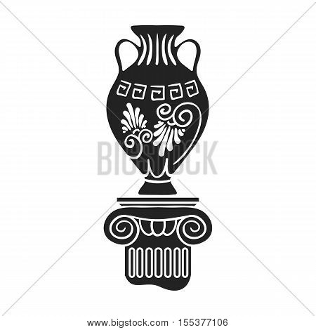 Amphora icon in black style isolated on white background. Museum symbol vector illustration.
