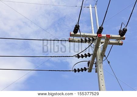 Electrical Pole Buck Arm type blue sky background