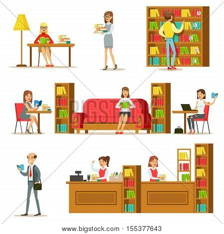 People Taking And Reading Books In Library Set Of Illustrations. Simple Cartoon Cute Style Flat Vector Drawings On White Background.