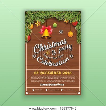Christmas & Happy New Year Party Flyer Template. Christmas Party Decoration With Wooden Board Background. Vector Illustration Design. 4x6 inches Layout.