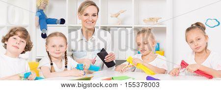 Children During Art Class