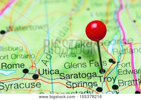 Saratoga Springs pinned on a map of New York state, USA