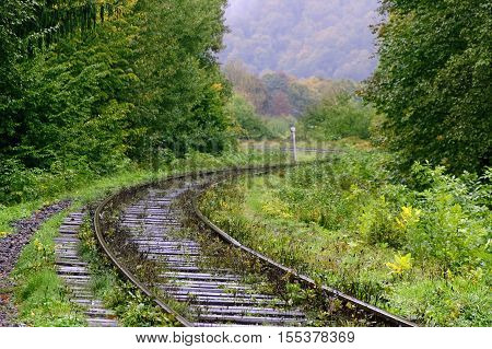 An old railway track in the Caerpathian forest at rainy autumn day