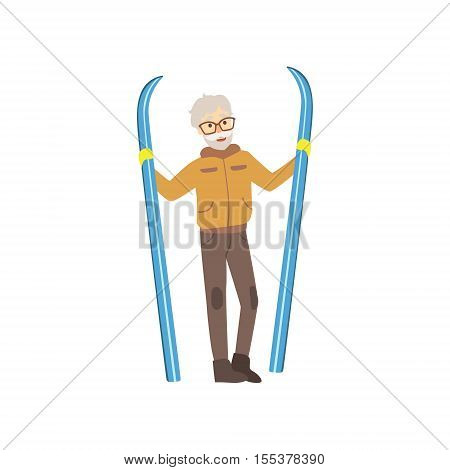 Old Man Holding Skis Winter Sports Illustration Isolated On White Background. Simplified Cartoon Character Vector Drawing.