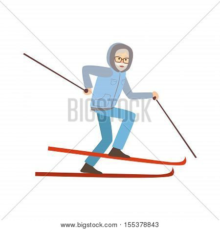Old Man Skiing Winter Sports Illustration Isolated On White Background. Simplified Cartoon Character Vector Drawing.